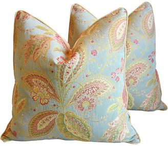 One Kings Lane Vintage French Floral Pillows - Set of 2 - robin's-egg blue/teal/rose/pink/gold