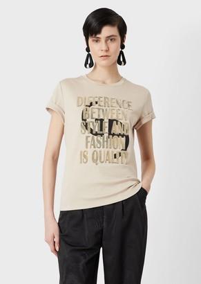 Giorgio Armani T-Shirt With Logo Print And Flocked Statement