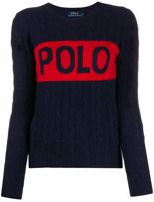 Polo Ralph Lauren Merino Wool Blend Logo Print Cable Knit Jumper