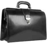 Forzieri Black Italian Leather Buckled Medium Doctor Bag