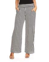 Black & White Even Stripe Wide-Leg Pants - Plus