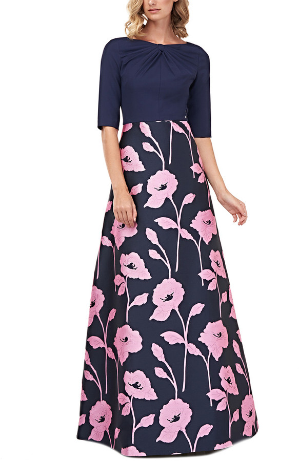Kay Unger Elbow-Sleeve Teresa Floral Jacquard Gown