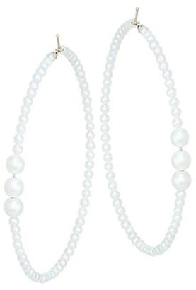 Mizuki 3 to 3.5MM Large Pearl Hoop Earrings