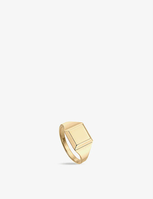 Monica Vinader Signature 18ct gold-plated vermeil signet ring
