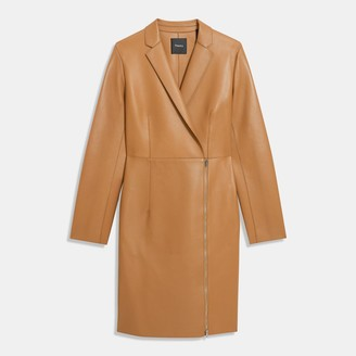 Theory Zip Coat in Bonded Leather