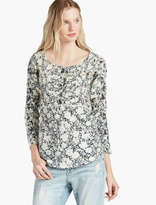 Lucky Brand Printed Mixed Trim Top