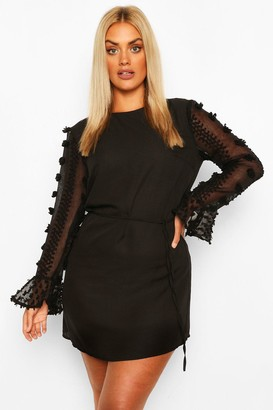 boohoo Plus Dobby Chiffon Ruffle Mini Dress
