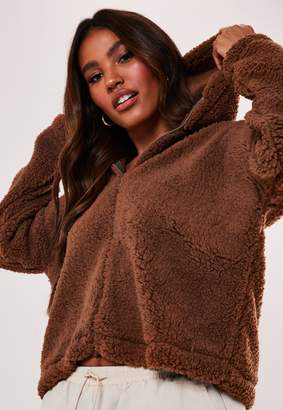Missguided Camel Borg Teddy Zip Through Hoodie