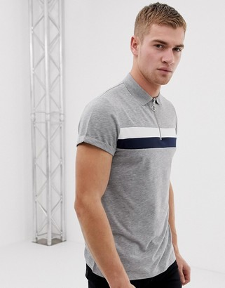 Asos DESIGN polo shirt with zip neck and roll sleeve in color block in gray