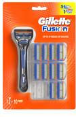 Gillette Fusion Men's Razor + 10 Blade Refills