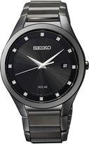 Seiko Mens Black Diamond-Accent Watch SNE243