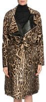 Tom Ford Leopard-Print Belted Long Fur Coat, Dark Brown/Beige