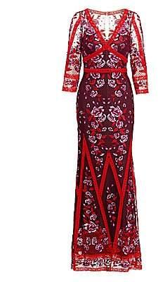 Marchesa Women's Floral Lace Gown