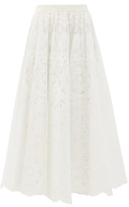 RED Valentino Grosgrain-waistband Crochet Midi Skirt - White