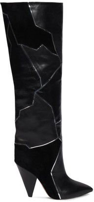 Isabel Marant Lytica Suede & Leather Metallic Patch Boots