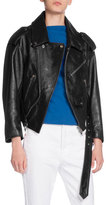 Balenciaga Leather Swing Biker Jacket, Black
