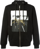 Les Hommes squares print zipped hoody