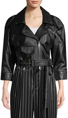 Carolina Herrera Crop Leather Jacket