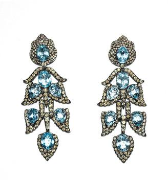 Arthur Marder Fine Jewelry Silver 28.80 Ct. Tw. Diamond & Blue Topaz Drop Earrings