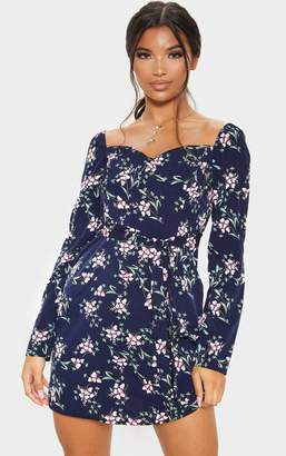 PrettyLittleThing Navy Floral Printed Cupped Tie Waist Shift Dress