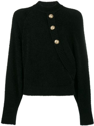 Balmain Buttoned Batwing Sweater