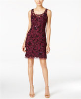 Adrianna Papell Floral-Beaded Illusion Sheath Dress