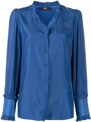 Steffen Schraut ruffle-trimmed V-neck blouse