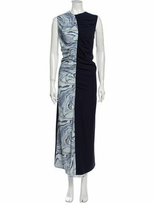 Nomia Printed Long Dress Blue