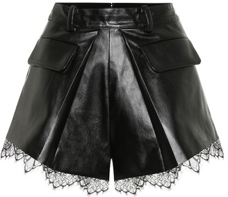 Self-Portrait High-rise faux leather shorts