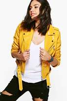 boohoo Leah Boutique Belted Faux Leather Biker Jacket mustard