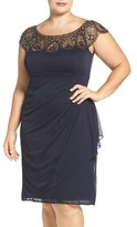Xscape Evenings Embellished Yoke Ruched Cocktail Dress (Plus Size)