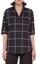 Akris Punto Windowpane 3/4-Sleeve Tunic, Black/Cream