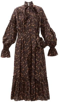 The Vampire's Wife The Kaftan Floral-print Cotton Midi Dress - Black Yellow