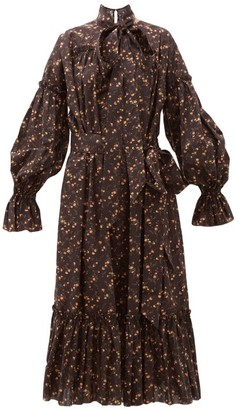 The Vampire's Wife The Kaftan Floral-print Cotton Midi Dress - Womens - Black Yellow