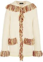 Alanui Oversized Hooded Fringed Cashmere Cardigan - White