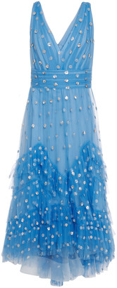 Marchesa Tiered Sequin-embellished Tulle Midi Dress