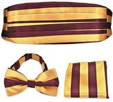 Pense'e PenSee Formal Gold Burgundy Stripe Pre-tied Bow Tie & Pocket Square & Cummerbund Set