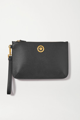 Versace Textured-leather Pouch - Black