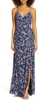 WAYF The Angelina Floral Print Slit Wrap Gown