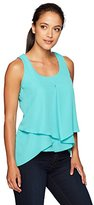 NY Collection Women's Petite Solid Sleeveless Inverted Pleat Sharkbite Top