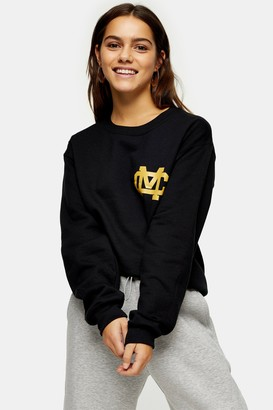 Topshop Womens Petite Michigan Yankee Sweatshirt In Black - Black