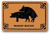 "Funny doormats Funny Pig Doormat, Making Bacon Doormat, Makin' Bacon Pattern Non-Slip Indoor or Outdoor Door Mat Doormat Home Decor Rectangle - 23.6""(L) x 15.7""(W), 3/16"" Thickness"