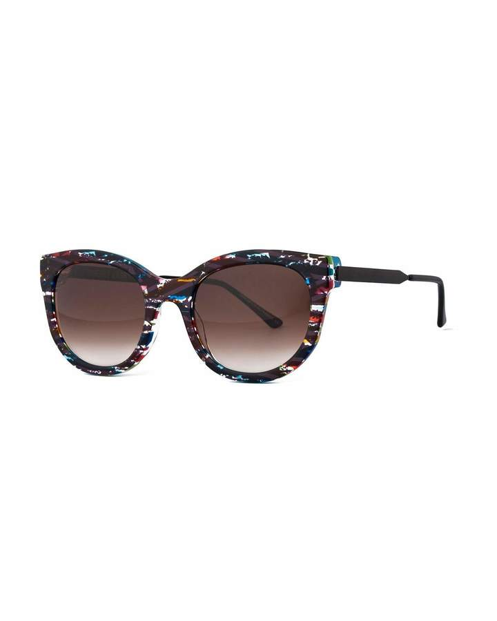 Thierry Lasry Lively Limited Edition Vintage-Pattern Square Sunglasses, Black/Multicolor