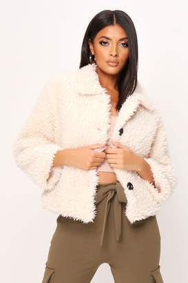 I SAW IT FIRST Cream Button Front Crop Teddy Coat