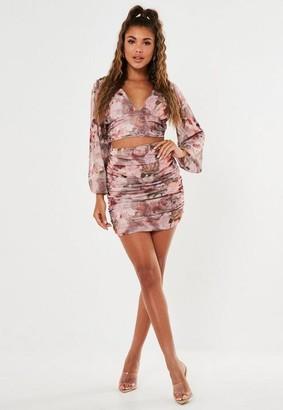 Missguided Petite Pink Floral Renaissance Print Mini Skirt
