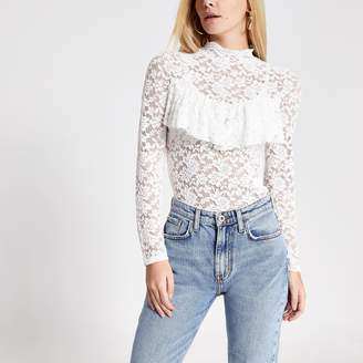 River Island Womens Petite Cream lace high neck frill top
