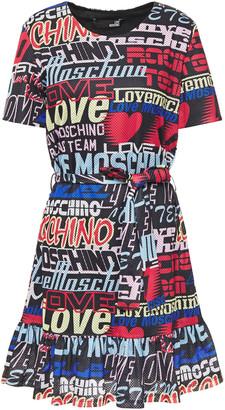 Love Moschino Belted Printed Mesh Mini Dress