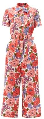 Zimmermann Poppy Floral-print Linen Jumpsuit - Pink Print