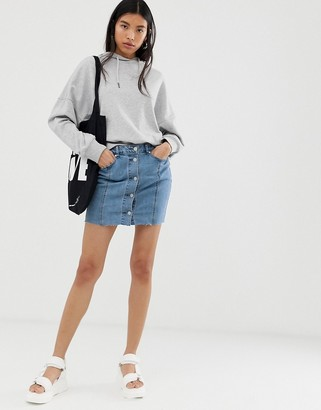 Only Pearl button down denim mini skirt-Blue