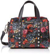Loungefly LF Grey Skull with Roses Printed Duffle Convertible Cross Body